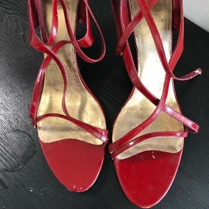 Nine West Red Patent Leather Strappy Sandals 12M
